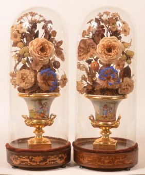 Pair Of Tucker Style Porcelain Urns.