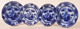 "4 Flow Blue ""chapoo"" Pattern China Plates."