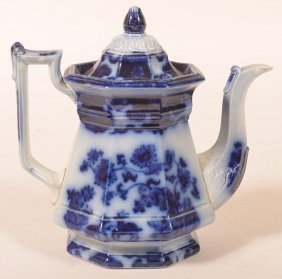 Flow Blue China Cashmere Pattern Coffeepot.