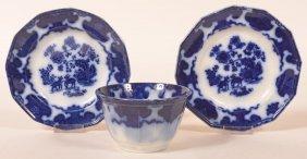 "3 Pcs. Of Flow Blue ""cashmere"" Pattern China."