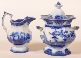 "Flow Blue China ""amoy"" Pitcher & Sugar Bowl."