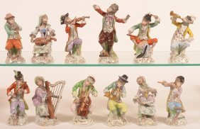 12 Pc. Dresden German Porcelain Monkey Band.