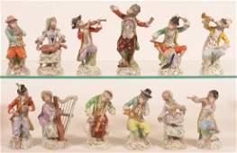 12 Pc Dresden German Porcelain Monkey Band