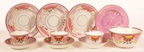 11 Pieces Of Pink Lustre China.