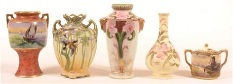 Five Various Pieces of Hand Painted Porcelain