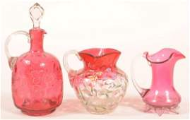 3 Various Pieces of Victorian Cranberry Art Glass