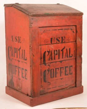 Antique Country Store Painted Wood Coffee Bin.