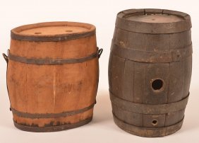 Two Antique Wooden Canteens.