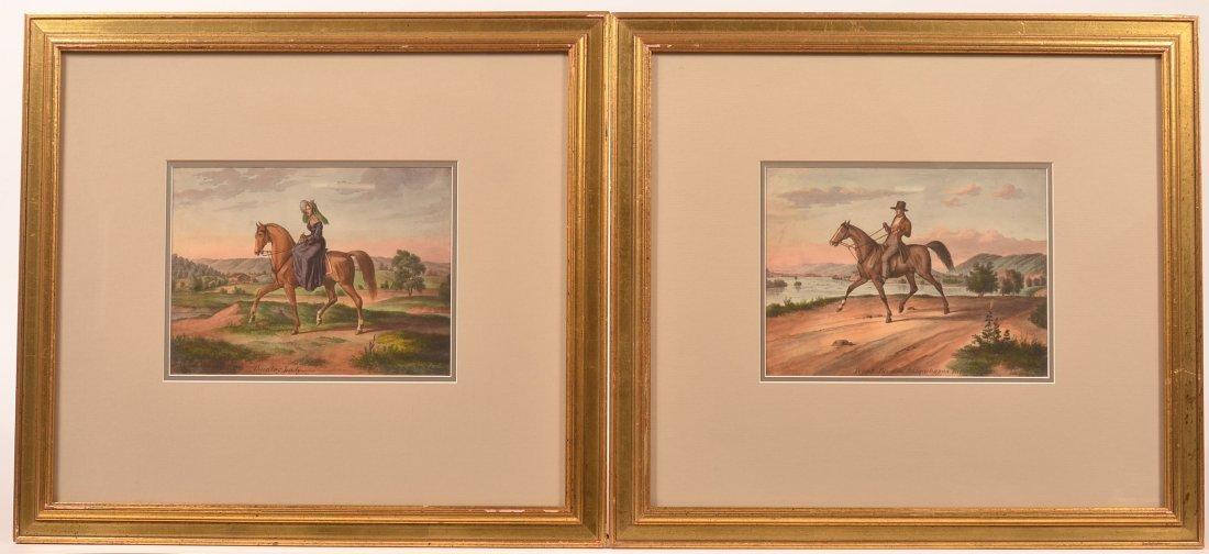 Two Unsigned Augustus Kollner Watercolors.