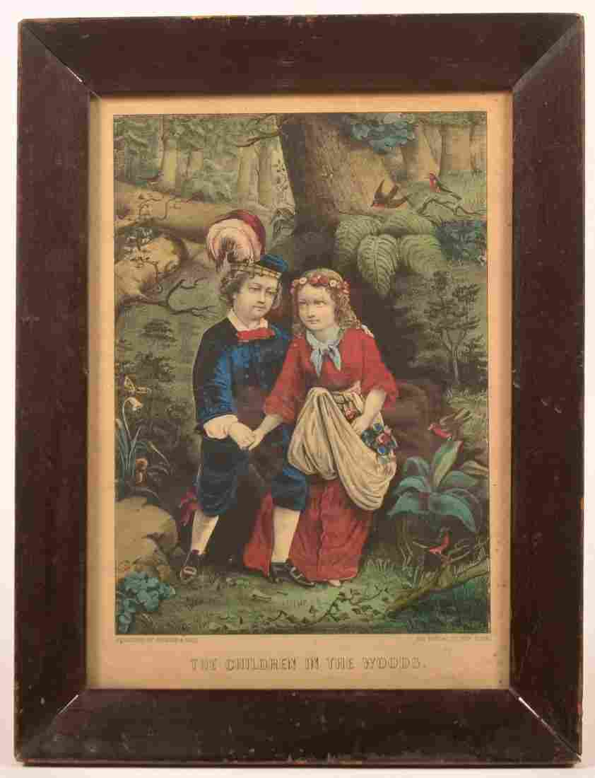 """Currier & Ives """"The Children in the Woods"""" Print."""