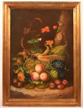 19th Cent. Oil On Canvas Painting Fruit Still Life.