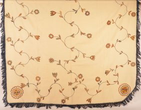 Pa 19th Cent. Floral Cruel Work Wool Blanket.