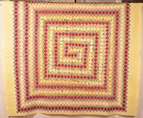 Vintage Diamond Block Pattern Patchwork Quilt.