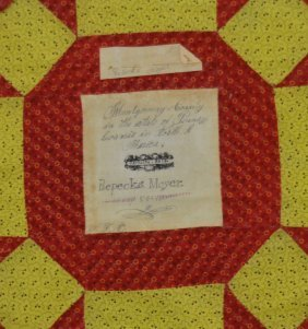 30 Montgomery Co., Pa Signature Quilt Pieces.