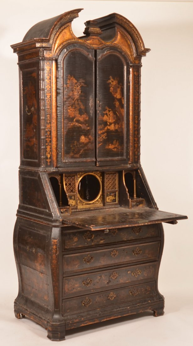 English 18th century Bombe Chinoiserie Black Lacquered