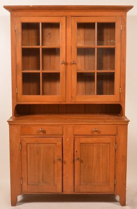 Pa Softwood Two Part Dutch Cupboard.