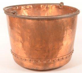 Pa 19th Century Copper Apple Butter Kettle.