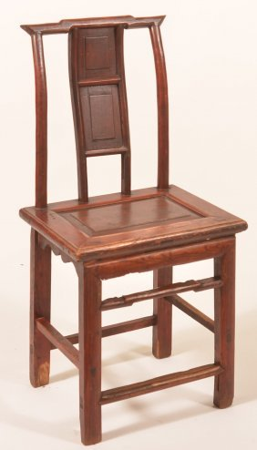 Oriental Mixed Wood Side Chair With Old Red Stain.