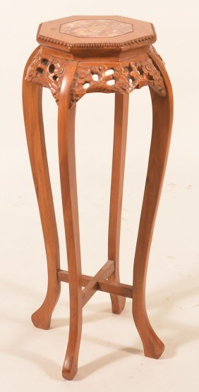 Oriental Carved Wood Marble Top Plant Stand.