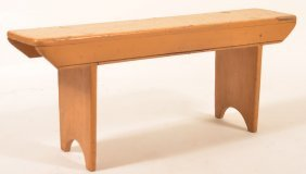 Pa 19th Century Softwood Mortised Leg Bench.