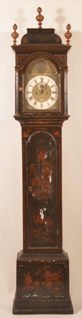 English Q/A Chinoiserie Tall Case Clock, C. 1740.