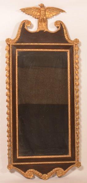 Georgian Style Mahogany And Gilt Frame Mirror.