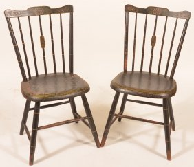 Pair Of Windsor Bamboo Turned Side Chairs.