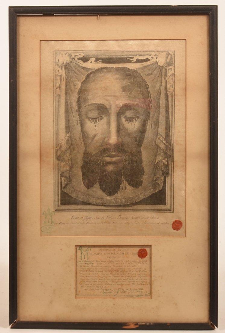 ST. Veronica Relic, True Image of Christ on Silk.