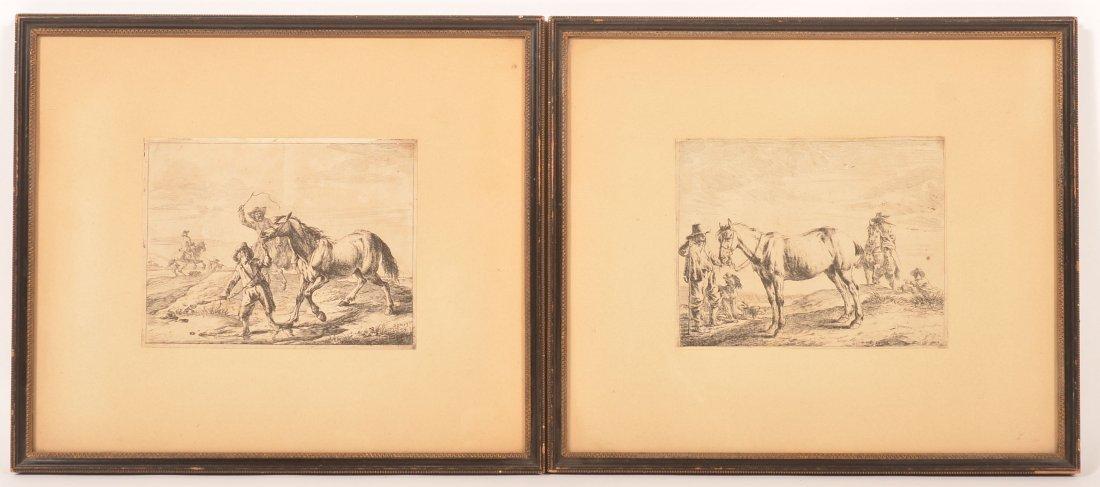 Two Dirck Stoop Etchings, Figures with Horses.