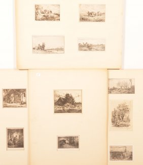 11 Charles Jacque Mid 19th Century Engravings.