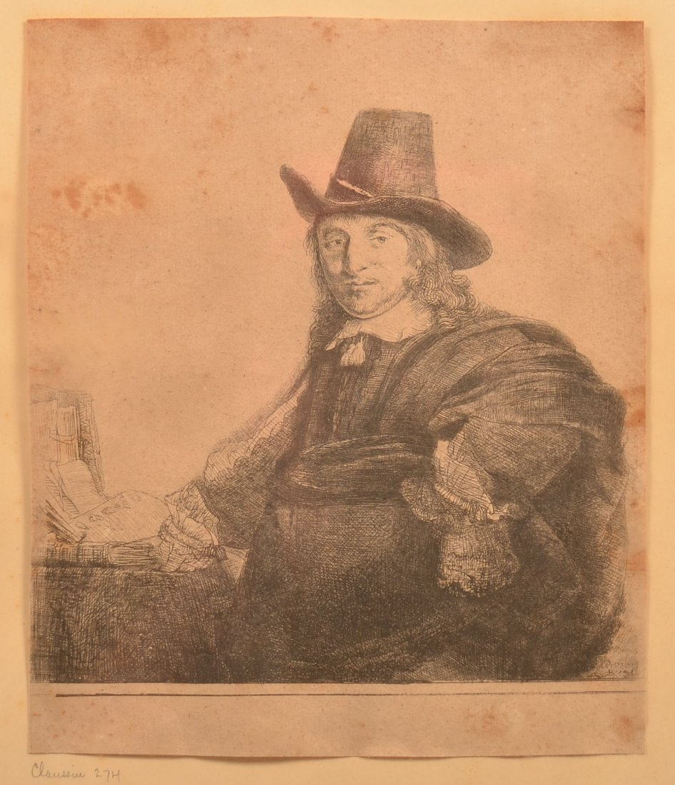 Rembrandt Etching of Artist Jan Asselyn, C. 1647.