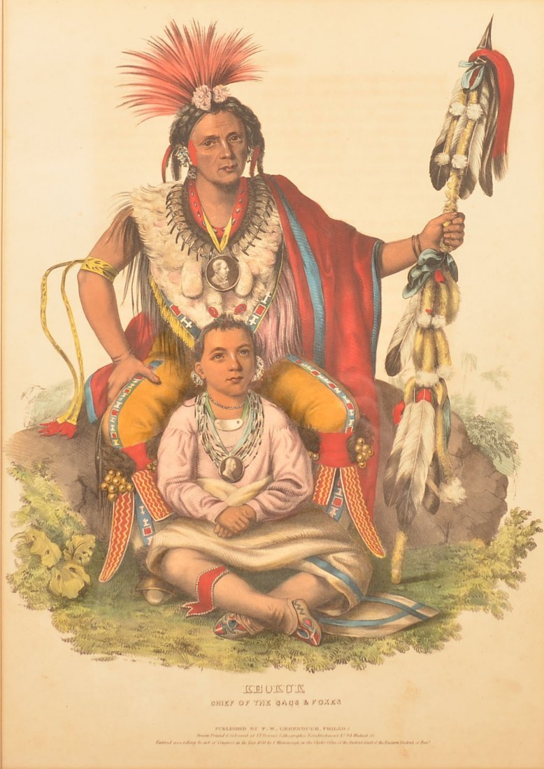 """Lithograph """"Keokuk, Chief of the Sacs and Foxes"""""""