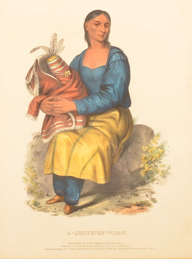 """Hand Colored Lithograph """"A Chippeway Widow""""."""