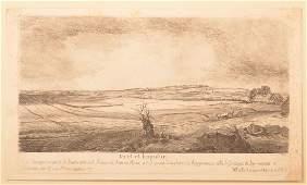 After Rembrandt W Baillie Landscape Etching