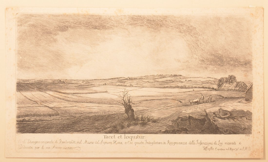 After Rembrandt, W. Baillie Landscape Etching.