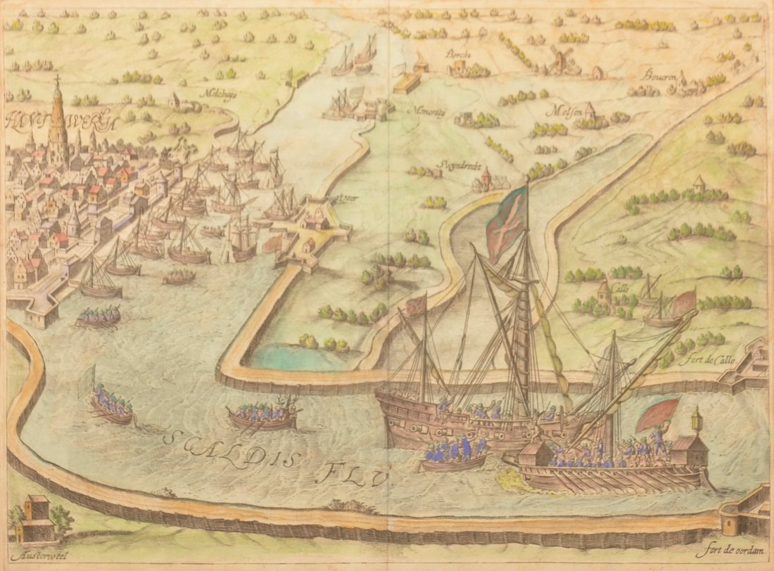 "18th C. War Map, Waterway Titled ""Scaldis Flu""."