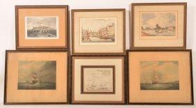 Six 19th Century Boat/harbor Scene Prints.
