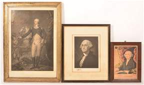 3 George Washington Engravings and Print