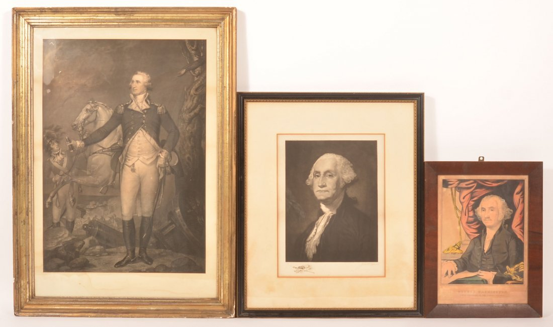 3 George Washington Engravings and Print.
