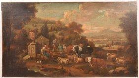 18th C. Dutch School Painting Of Pastoral Scene.