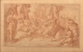 17th Century Italian School Bacchante Painting.