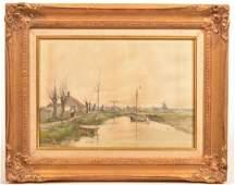 Emile Albert Gruppe Dutch Landscape Painting.