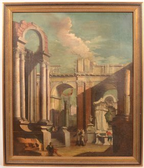 Oil On Canvas Painting Depicting Roman Ruins.