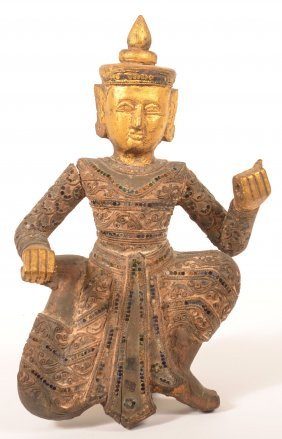 19th Cent. Carved And Gilt Thai Immortal Figure.