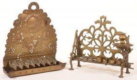 Two Various 19th Century Brass Menorahs.
