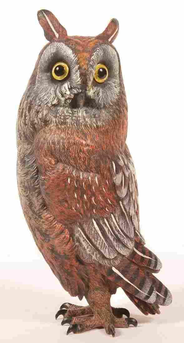 "C. Kauba Austrian Cold Painted Bronze 10"" Owl."