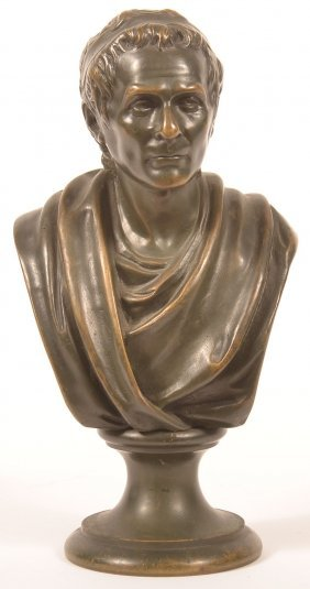 Bronze Bust Of Roman Nobleman After Houdon.