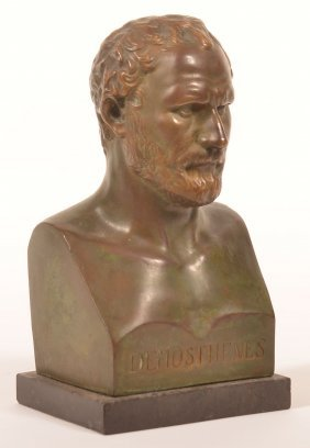 """Unsigned Bronze Bust Of """"demosthenes""""."""