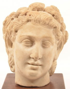 Antique Carved Marble Bust Head Of A Woman.