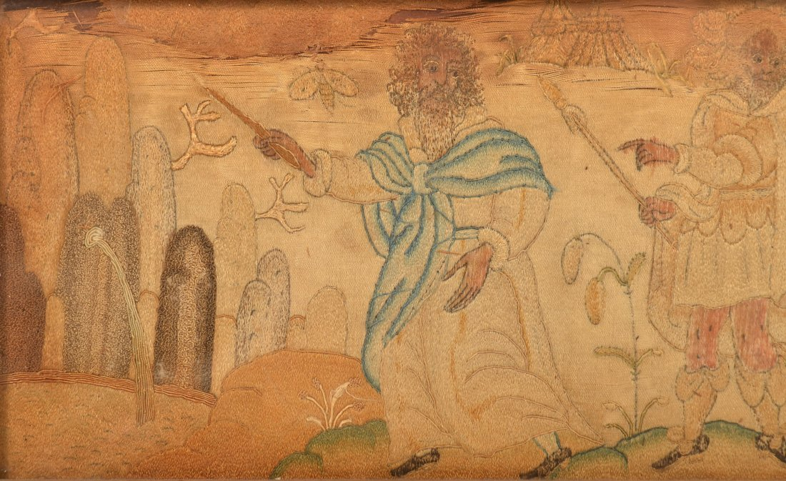 18th Century Silk Embroidery Depicting Moses. - 3